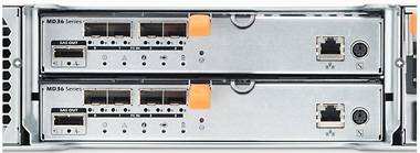 Connect up to 64 hosts with Fibre Channel switches. Add up to 96 HDDs or SSDs with MD1200 expansion arrays.